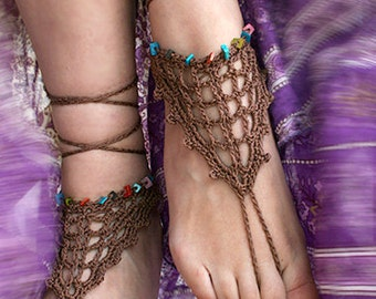 Bohemian barefoot sandals, Gypsy shoes, Beach Sandals, Hippie shoes, Bohemian Foot Jewelry, Belly dance, Yoga, Anklet