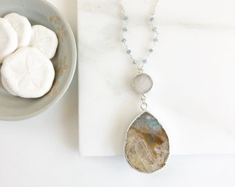 Long Stone Bohemian Druzy Necklace in Silver. Boho Pendant Necklace. Long White Druzy and Stone Necklace. Jewelry Gift. Gift for Her.