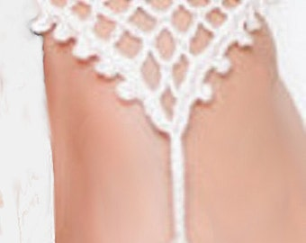 Barefoot Sandals Foot Jewelry Hippie  Bridal Crochet