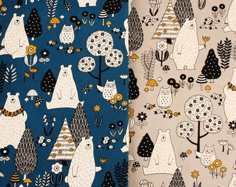 Oxford] Forest Bear Owl Flowers patterned Fabric made in Korea by the Half Yard