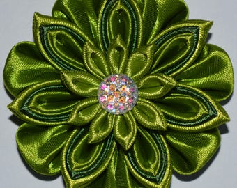 Handmade Girl's Flower Hair Clip/Bow In Green, Kanzashi Style, School/Party/Easter, FREE UK Delivery
