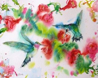 hummingbird art, small hummingbird signed giclee print, fuschia painting, giclee print, abstract hummingbird art, wall decor, home decor