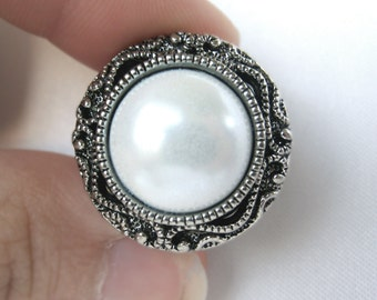 "Pair of Antique Silver and Pearl Button Plugs - Handmade Girly Gauges - Formal Bridal Prom 4g, 2g, 0g, 00g, 7/16"", 1/2"", 9/16"", 5/8"", 3/4"""