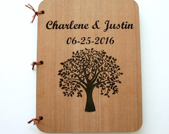 Personalized Wedding Book Tree of Life Wedding Guest Book Engraved Wooden Book Custom Engraved Rustic Journal