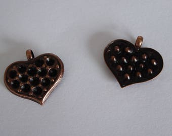 Metal 21mm antique copper heart pendant