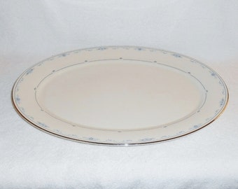 "Lenox Carolina Pattern 16"" Oval China Platter Blue Floral Platinum Trim"