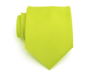 Mens Tie Lime Green Silk Necktie With *FREE* Matching Pocket Square Set