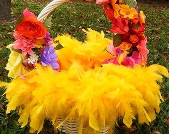 Easter basket, yellow easter basket, feather easter basket, Designs on Holiday, floral easter basket, floral basket, spring basket, Easter