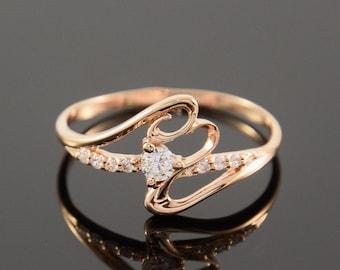 White stone ring, Topaz ring, Twist ring, Gemstone ring, Gold ring, Women ring, Elegant ring, Tiny ring, Birthstone ring, White  topaz ring
