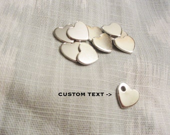 "Custom Silver Heart - 12mm (1/2"") - Hand Stamped Heart Jewelry Tag - BULK PRICING AVAILABLE"