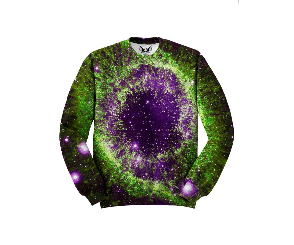 Psychedelic Space Zip-Up Hoodie - Nebula Forest Art - EDM Festival Clothing - Sublimation Print Treeline Galaxy dSFRIc7Z
