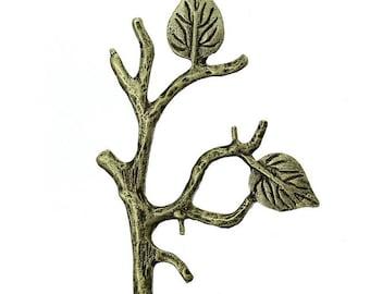 1 embellishment metal Applique leaf decor 5.1x3.6cm branch