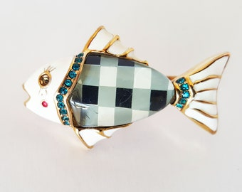 Quirky Weird Double Finger Ring Gold Tone Resin Enamel Plaid Fish with Rhinestones Designer Inspired