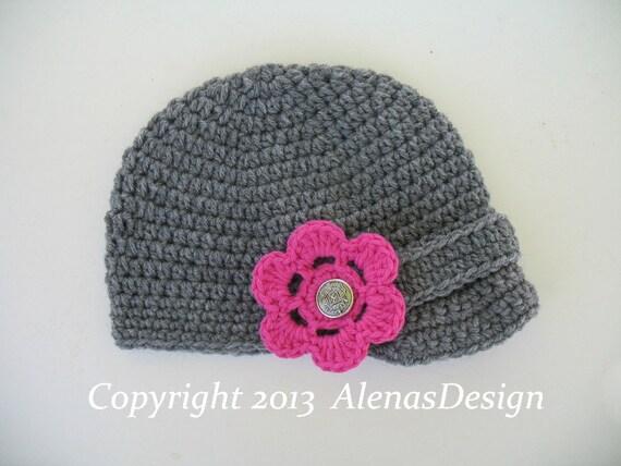 Crochet Pattern 088 - Crochet Hat Pattern - Hat Crochet Pattern for Visor Beanie with Detachable Flower Baby Boys Girls Men Women Visor Hat