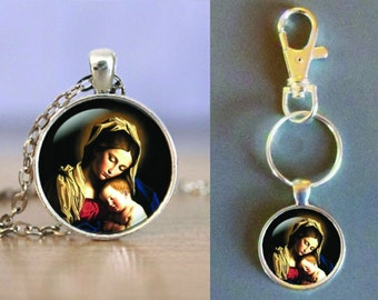 Madonna and Child - Glass Pendant -Your Choice of Necklace or Keychain