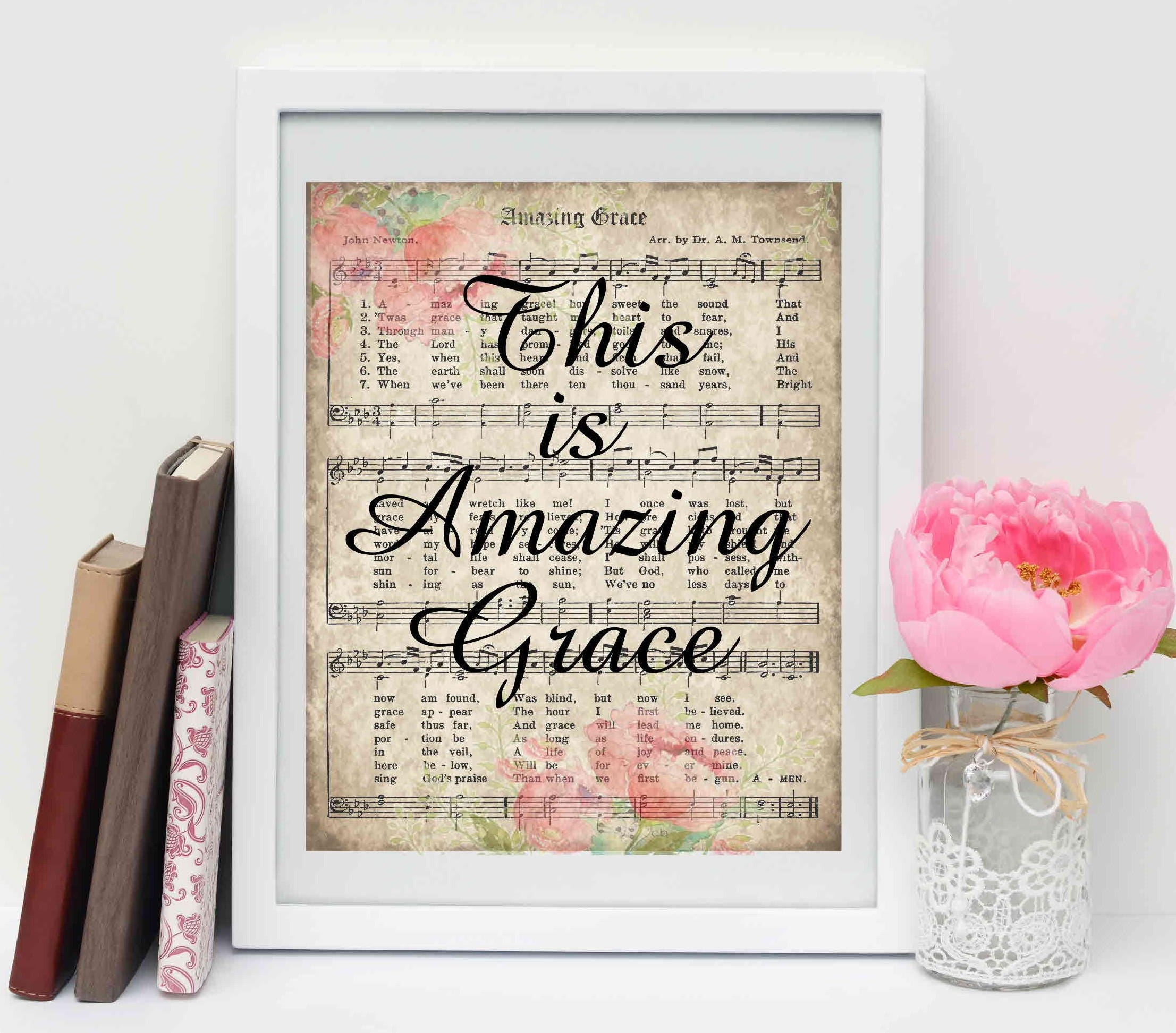 Amazing Grace sign printable vintage hymn Easter decor Digital