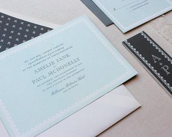 Elegant Wedding Invitations, Wedding Invitation, Classic, Initial, Sweet Modern, Custom Wedding Invitation - Sweet Elegance Sample
