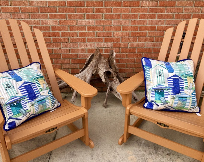 Outdoor pillows nautical beach huts island tropical vacation home blue green housewarming new home retirement BeachHouseDreams Home OBX