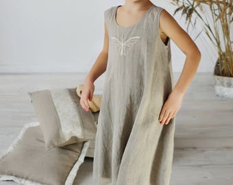 Linen Gown For Girl/ Linen Night Dress in Natural Linen/ Linen Wear For Girl/ Night wear For Girls/ Embroidered Dress for girls