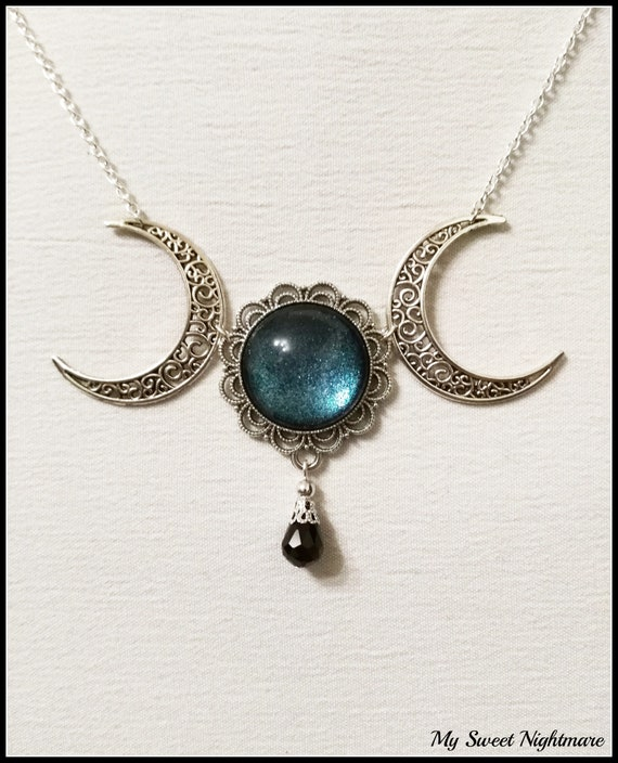 Triple moon necklace triple goddess pendant wiccan jewelry like this item aloadofball Image collections