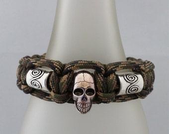 Mens paracord bracelet,mens skull bracelet,mens skull jewelry,mens gift,mens paracord jewelry,paracord skull  bracelet,skull bead bracelet