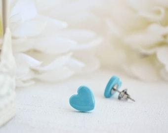 Mini turquoise heart earrings - Stud earrings