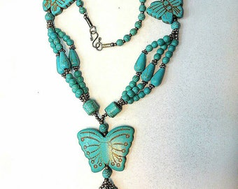 FREE SHIPPING Worldwide Afghan Turquoise with Silver Plated Beads Necklace Handmade Gemstone Jewelry Butterfly Design