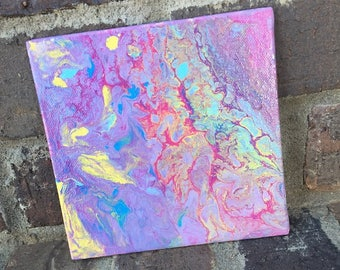 OOAK - Fire and Ice 6x6 Canvas Panel FREE SHIPPING
