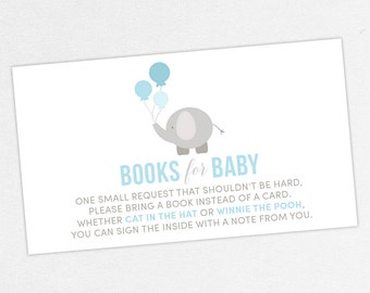 INSTANT DOWNLOAD Books for Baby Card, Baby Shower Books for Baby, Book for Baby PDF, Diy, Elephant Shower, Elephant Book Card, Little Peanut