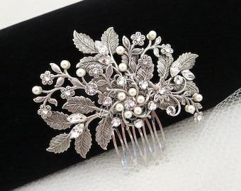 Bridal hair comb, Wedding hair accessories, Leaf headpiece, Wedding headpiece, Hair jewelry, Swarovski hair comb, Hair accessory, Vintage