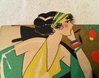 Vintage Art Deco, Bridge card, woman