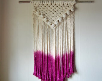 Dip dyed modern macrame wall hanging