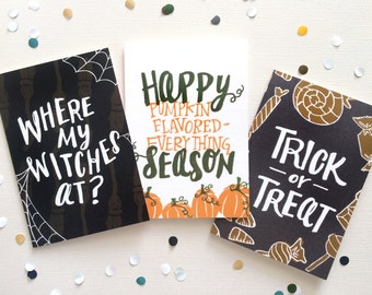 Halloween Greeting Cards - Hand lettering