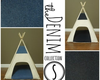 "Dog/Cat Teepee Pet Tent - Small 24"" base - The Denim Collection -  Choose light or dark wash - Available in ALL sizes!"