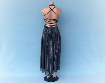 Sparkling silver laceup halter dancing dress