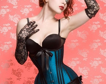 Custom Made Victorian longline tightlacing underbust silk corset