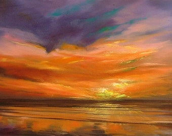 Islay Sunset  | greetings card | hand made | handmade | oil | painting | landscape | | sunset | orange | sea | painting card | green flash