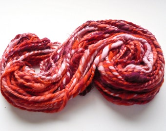 STUDY IN SCARLET Handspun Yarn, 2-ply yarn, super bulky yarn, soft fractal yarn, merino yarn, kid mohair locks, Thick and Thin Chunky Yarn
