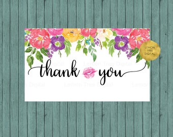 LipSense thank you card, thank you cards, lipsense, lipsense cards, senegence cards, kiss thank you, watercolor, floral, pink
