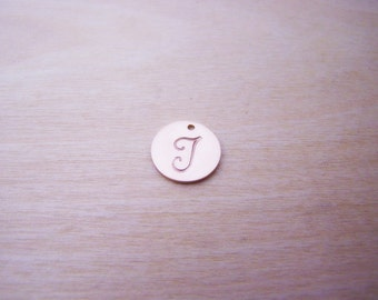 Rose Gold Filled Initial Charm - Initial Disc - Letter Charm - Hand Stamped Charm - Alphabet Initial Disc - Initial Disc - Rose Gold Initial
