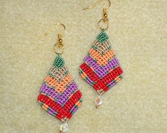 Macrame  earrings, micro macrame, knotted jewelry, hand made earrings, hippie, chic