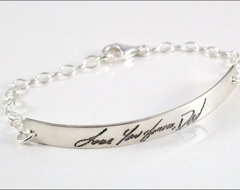 Custom Handwriting Bracelet | Remembrance Bracelet, Signature Bracelet, Sterling Silver Bracelet, Name Bracelet