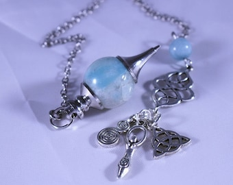 Pendulum, Aquamarine Pendulum, Aquamarine Pendulum with Matching Bead and Spiral, Triquera and Goddess Charms