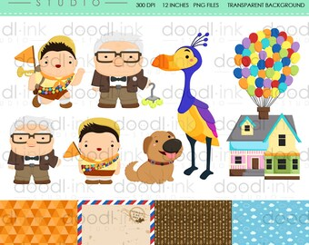 SALE 50% !!! House Balloon Movie Digital Clipart / Flying House Clip Art / Digital Paper For Personal Use / INSTANT DOWNLOAD
