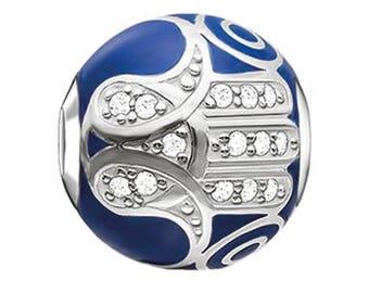 Hamsa Charm - Blue Hamsa Charm - Hamsa Jewelry - Hamsa  Pendant - Hamsa Bead  -  Fits All Charm Bracelets