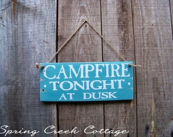 Camp Signs, Campfire Tonight, Lake House Decor, Cabin Signs, Home Decor, Rustic, Wood Signs, Handpainted Signs, Lake House, Wood Signs