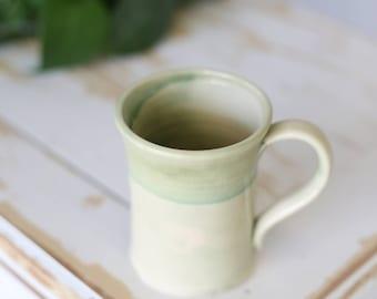 Handmade Green Pottery Mug/Green Pottery Mug/Green Pottery Serving Mug/Green Stoneware Mug/Green Handmade Mug/Green Birthday Mug/Pottery Cup