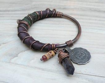 Silk Road Copper Bangle - Boho Silk Wrapped Bangle, Handmade with Tribal Metalwork and Recycled Sari Silk