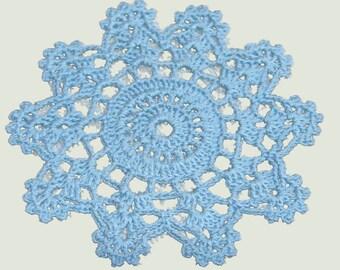4 Crochet Thread coaster mini doily blue Star