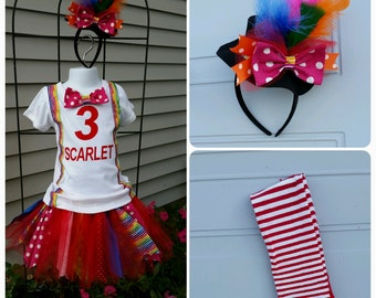 Carnival Birthday Outfit, Circus Birthday, Circus Costume, Personalied Birthday , Ringmaster Outfit, Rainbow Tutu